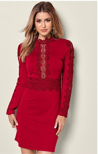 dress lace dress short dress mock neck turtleneck long sleeve dress