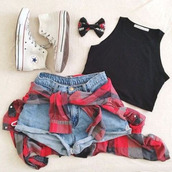 tank top,high waisted,converse,top,checked shirt,check shirt,black tank top,black top,red checkered shirt,blouse,style,skater,black,hot,fashion,crop tops,shorts,shirt,hair accessory,shoes,cardigan,fabric
