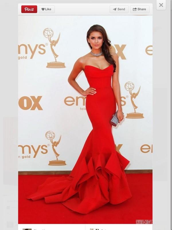 dress prom dress red dress donna karan nina dobrev emmy 2014 red gown long dress red donna karen