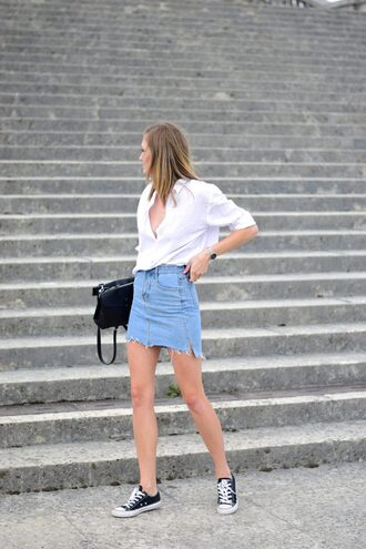 shirt tumblr white shirt denim denim shorts blue skirt denim skirt sneakers low top sneakers black sneakers converse bag black bag skirt shoes