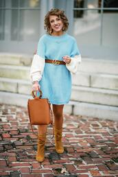 something delightful,blogger,sweater,dress,shoes,bag,jewels,belt,fall outfits,blue sweater,sweater dress,fall colors