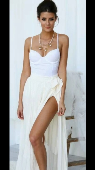 top white dress white style skirt blouse t-shirt shirt maxi dress maxi skirt maxi corset top bustier bustier dress gold jewels