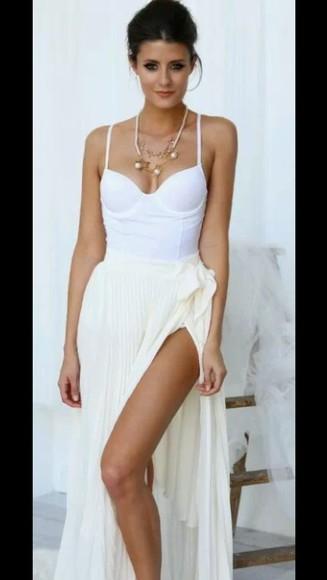 skirt top corset top shirt t-shirt style maxi dress maxi skirt jewels bustier dress white gold bustier white dress blouse maxi