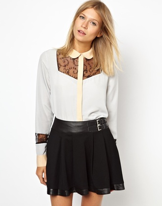 blouse white yellow pastel lace black top