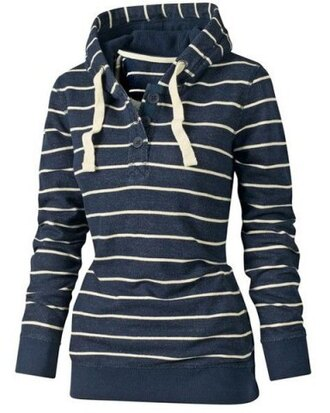 sweater hoodie fashion style casual blue white sporty stripes long sleeves