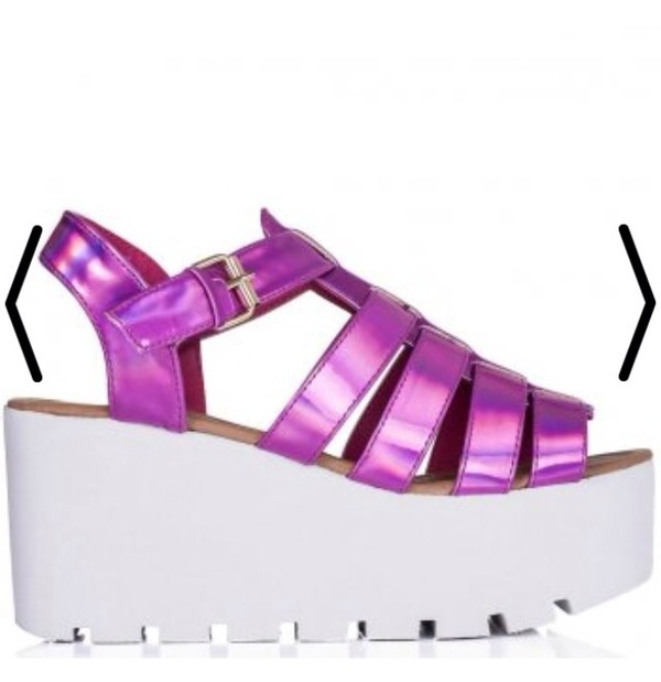 shoes pink holographic holographic shoes flatforms white