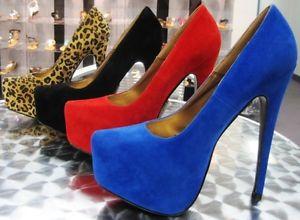 New Women Almond Toe Suede Hidden Platform Stiletto Heel Pumps Slip Ons Shoe   eBay