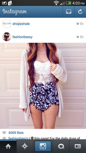 shorts sweater floral shorts lace oversized sweater floral tank top