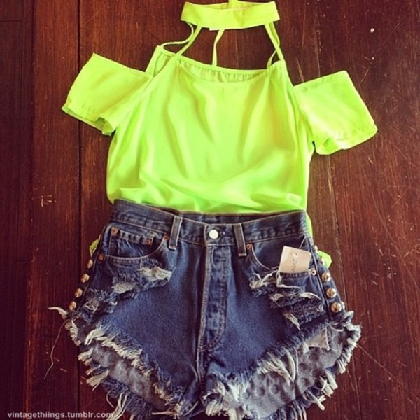 t-shirt neon yellow bright crop tops yellow grunge hipster summer fluro yellow pants