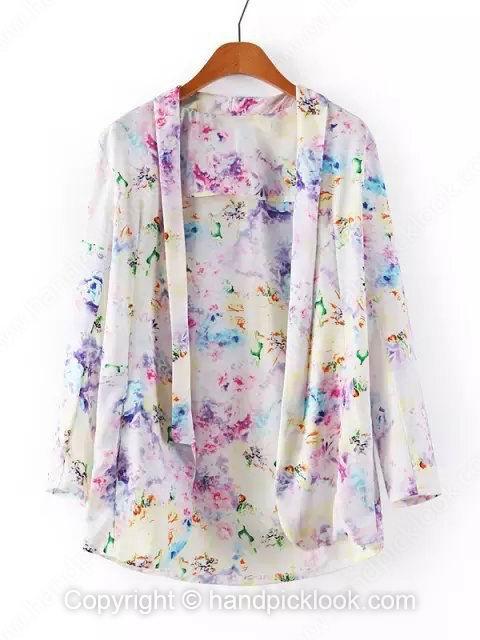 Purple Lapel Long Sleeve Floral Print Loose Blazer - HandpickLook.com
