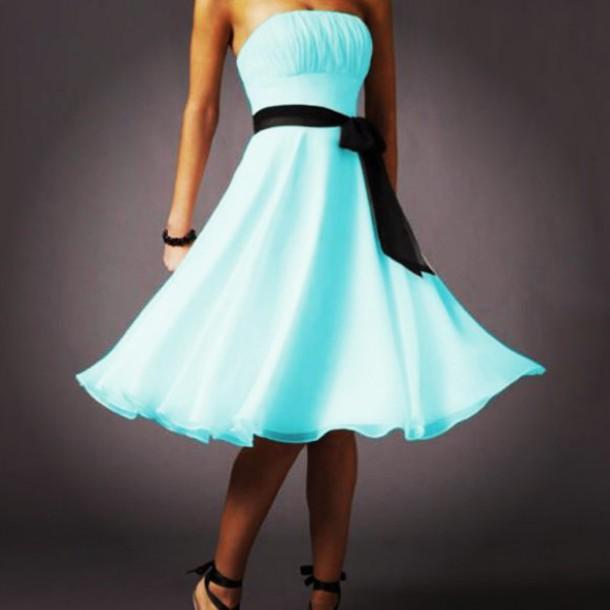 blue dress tumblr outfit ribbon light blue bright blue