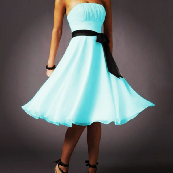 blue dress tumblr outfit ribbon light blue bright blue
