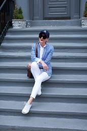 atlantic pacific,blogger,white jeans,cap,checkered shirt,white sneakers,shoulder bag,brown bag,black baseball hat,hat