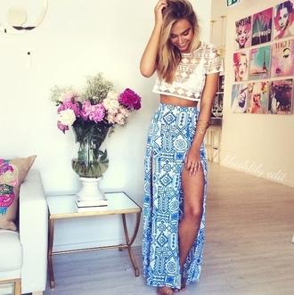 blouse maxi skirt cropped tee lace tribal skirt skirt dress blue girl flowers