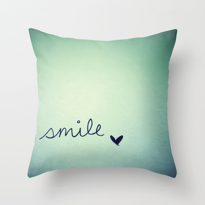 S  m  i  l  e  throw pillow by rubybirdie