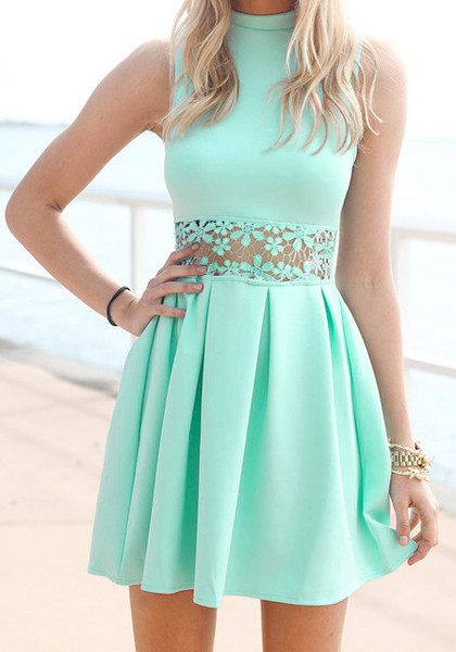 Mint lace waist dress