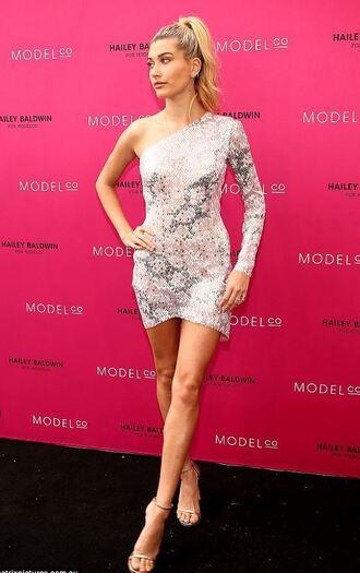 shoes sandals asymmetrical asymmetrical dress one shoulder hailey baldwin mini dress