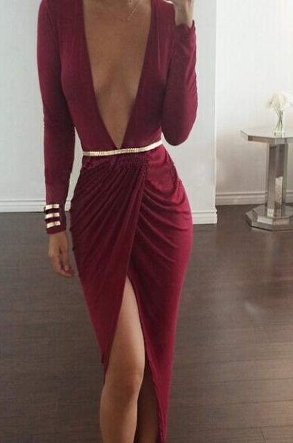 Sexy deep v show body hot dress