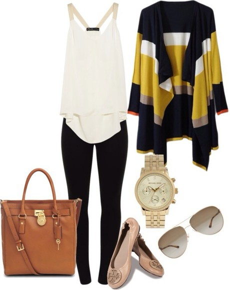 yellow white leggings cardigan blouse black fall outfits winter outfits womans teens yellow white and navy bluer waterfall cardigan bag