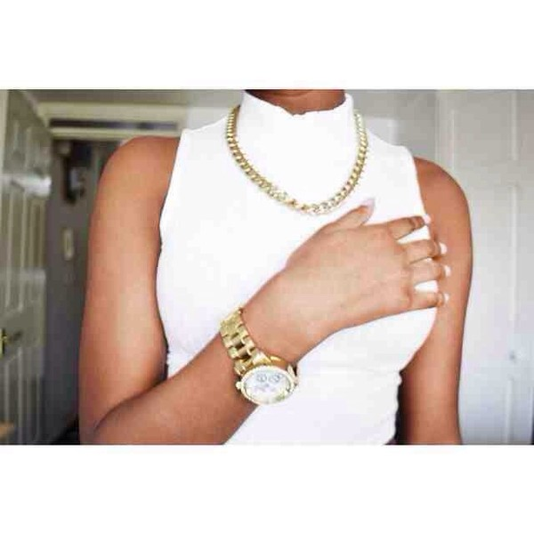 jewels watch necklace shirt