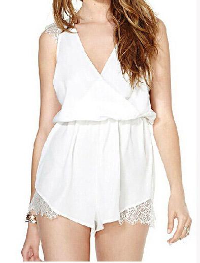 Sexy v neck sleeveless lace shoulder & border white loose jumpsuit
