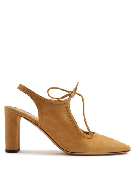 The Row pumps suede tan light shoes