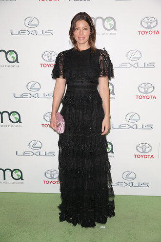 dress gown prom dress black dress jessica biel maxi dress lace dress mtv ema awards mtv ema