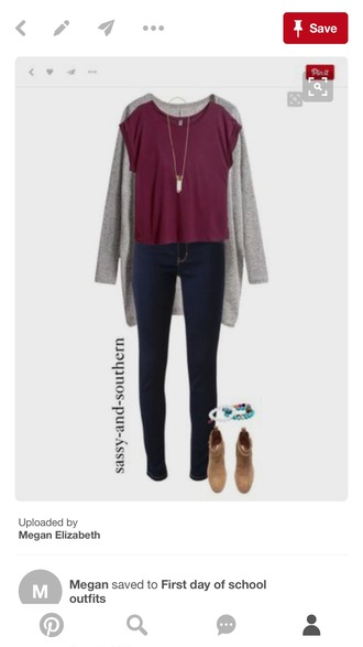 blouse clothes burgundy top grey cardigan brown boots cardigan jeans shoes jewels