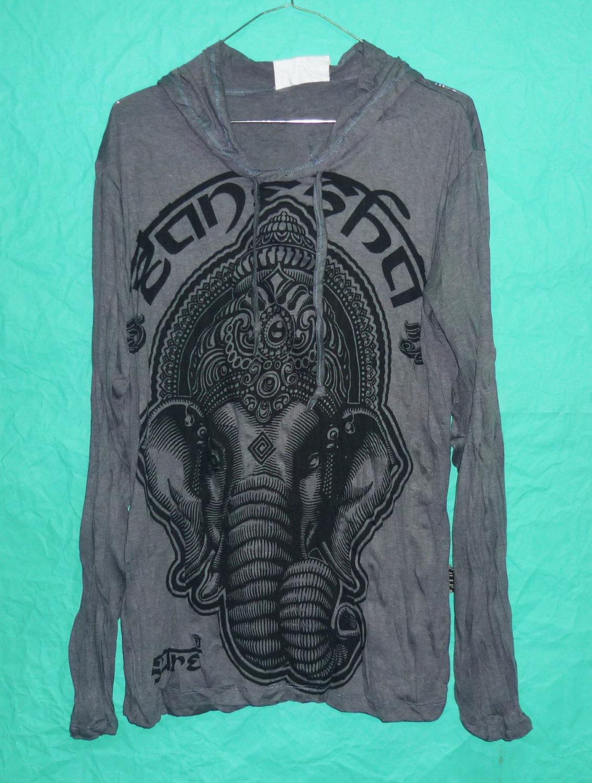 Hoodie om elephant head indianstyle tee dark grey hood long sleeve wrinkled tshirt unisex,women,men tees magic art shirt style size m/l xl