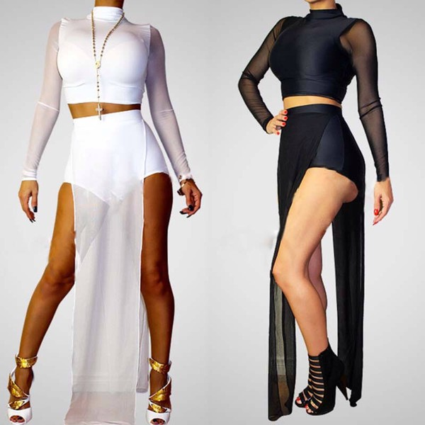 jumpsuit skirt two-piece mesh romper white