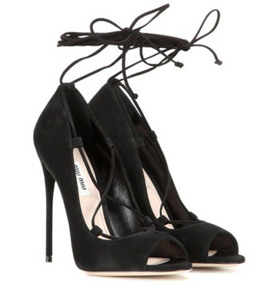 Miu Miu sandals lace suede black shoes