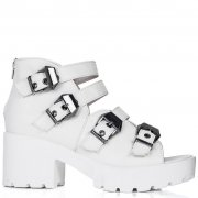 Buy ISLAND Chunky Heel Buckle Peep Toe Sandal Shoes White Leather Style Online