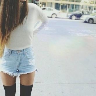 shorts jeans denim shorts denim shirt shoes underwear
