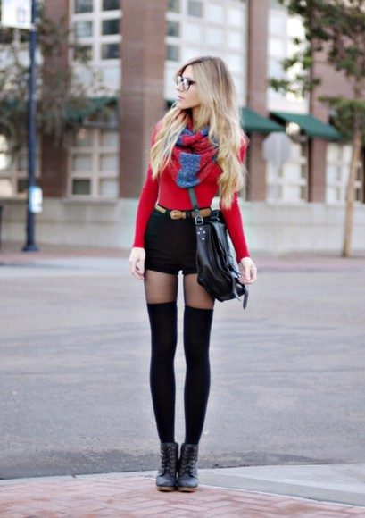 long sleeve shirt red sweater