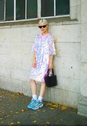 stella's wardrobe,blogger,dress,sunglasses,shoes,bag,sequin dress,sneakers