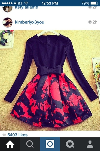style bows red black bow belt long sleeve dress