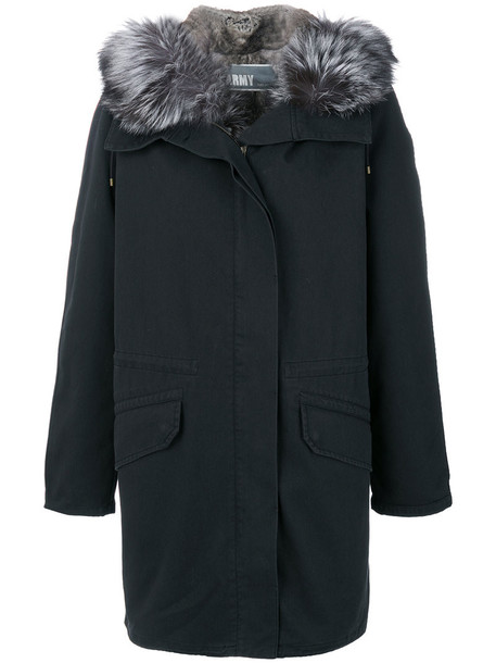 Army Yves Salomon parka fur fox women cotton black coat