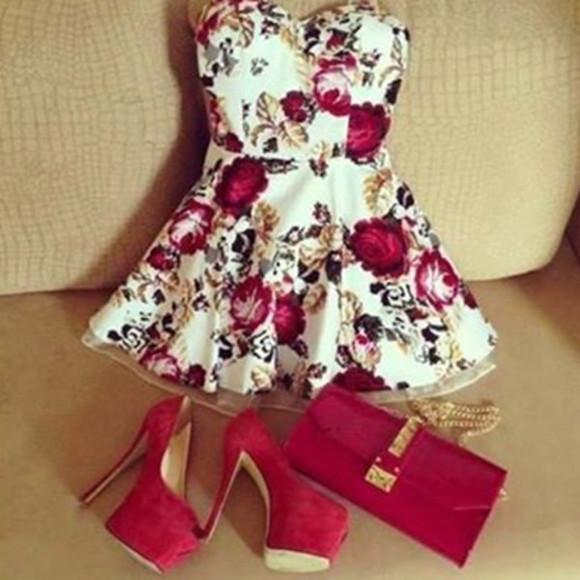 roses cute white dress red white dress short party dresses cute dress
