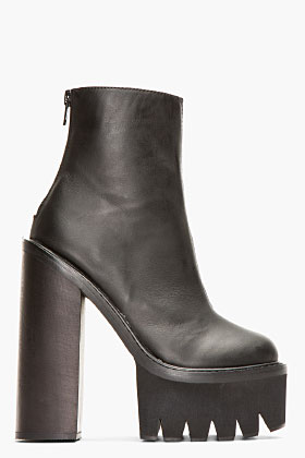 Jeffrey Campbell Black Leather Mulder Boots for women | SSENSE