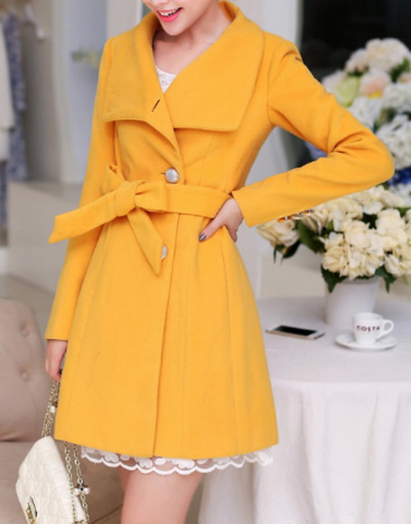 trench coat lapel coat trench dress yellow coat winter coat winter wear