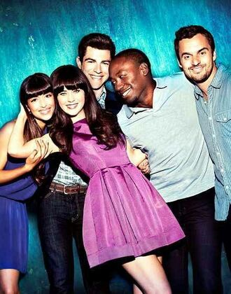 dress new girl tv show lilac dress mini dress blue dress menswear mens t-shirt polo shirt mens polo zooey deschanel hannah simone jake johnson max greenfield lamorne morris
