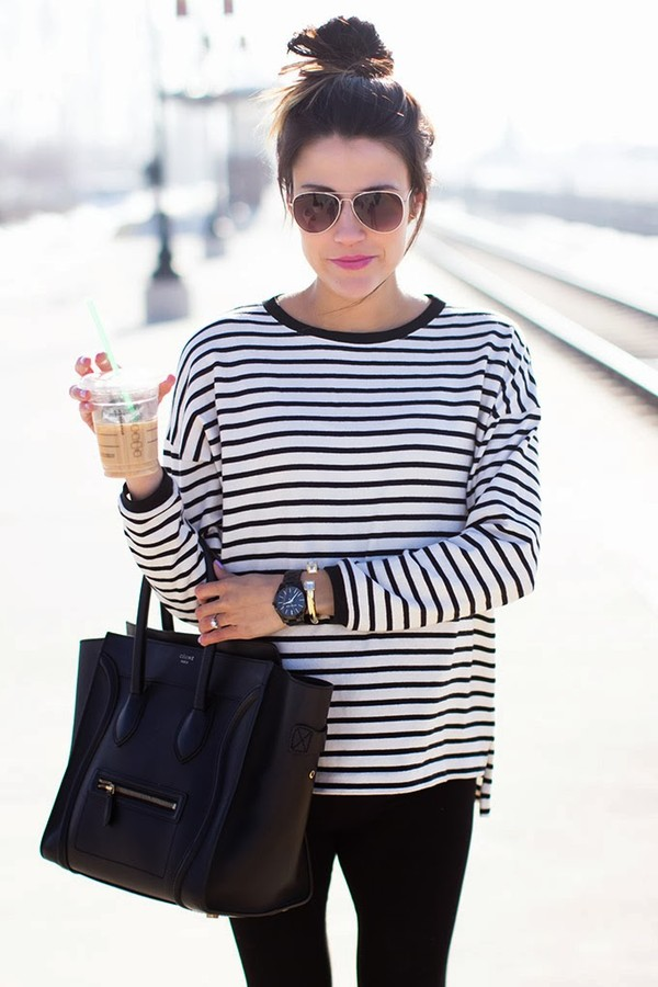 t-shirt pants shoes bag jewels tote bag hair accessory french girl style shirt stripes black and white white black stripe top bun top knot bun hairstyles striped top black bag celine celine bag handbag sunglasses aviator sunglasses