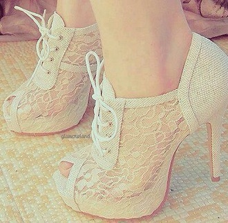 shoes white lace heels peep toe high heels crochet boots lace lace-up shoes heels