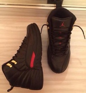 shoes,jordans taxi,black trainers,jordans,black jordans,trainers,nike sneakers,swag,dope,black,sneakers,red,tank top,23,style,micheal jordan,black shoes,red shoes,air jordan,high top sneakers,black sneakers,jordan's,airjordans,same color,sneaker head,girls sneakers,galax sneakers,shoes jordan's !,js,jordan 12s customized,retro 12,jordans 12,air jordan 12,gold,nike shoes