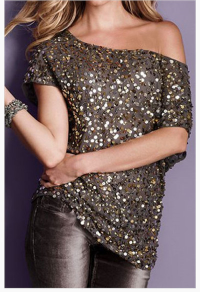 blouse gold sequins