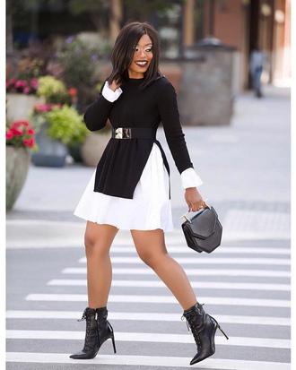 dress bag tumblr mini dress long sleeves long sleeve dress boots black boots ankle boots handbag