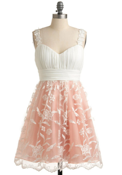 dress pink and white lace vintage pattern modcloth lace overlay pink flower straps rouching sweetheart neckline pretty prom promdress