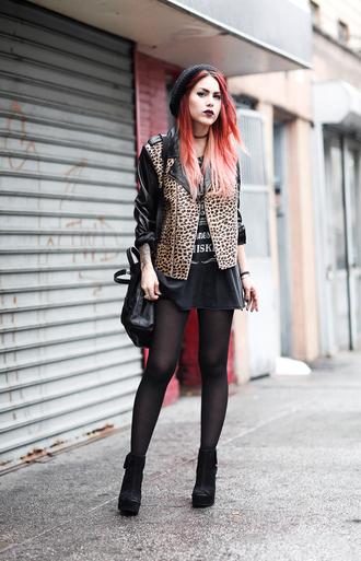le happy blogger jacket leopard print perfecto