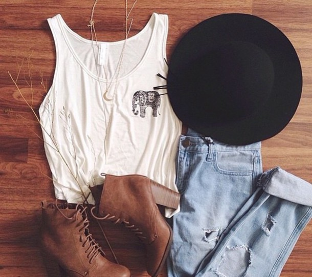 hat black hat blouse shoes top jeans tank top boho indie hippie hipster sunhat ripped acid wash heels outfit boots summer spring tumblr pants and the shoes and shirt ??? jewels fashion