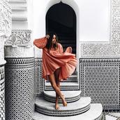 dress,tumblr,orange dress,flowy,flowy dress,long sleeves,puffed sleeves,long sleeve dress,mini dress,short dress,summer dress,slide shoes,nude shoes,puff sleeve dress